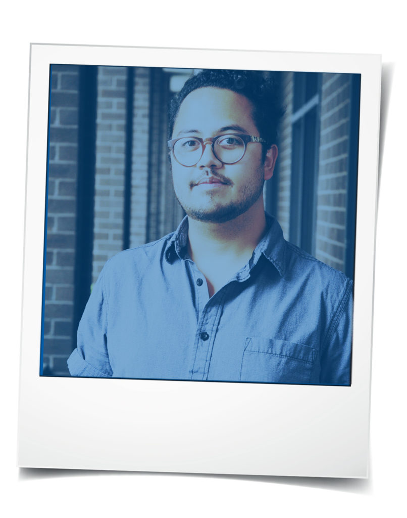 Polaroid-style photo of young Asian man with glasses