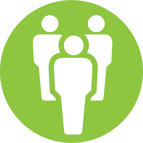 Icon containing silhouettes of three people