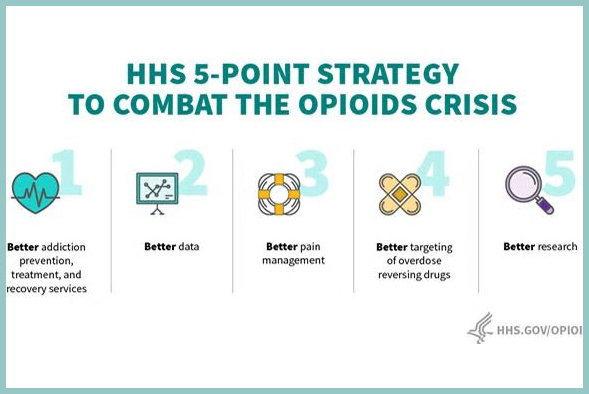 HHS 5-Point Strategy to Combat the Opioids Crisis: better addiction, prevention, treatment, and recovery services; better data; better pain management; better targeting of overdose reversing drugs; better research